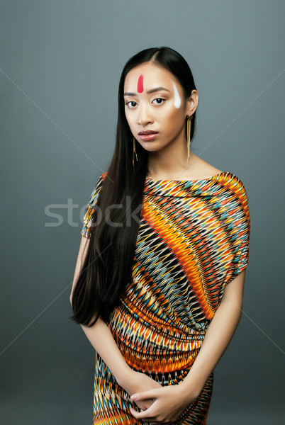beauty young asian girl with make up like Pocahontas, red indian Stock photo © iordani