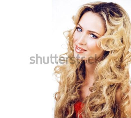 Beleza loiro mulher longo cabelos cacheados Foto stock © iordani