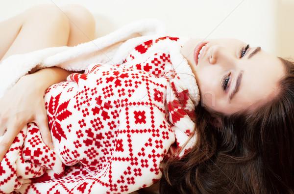 Fiatal csinos barna hajú lány karácsony dísz Stock fotó © iordani
