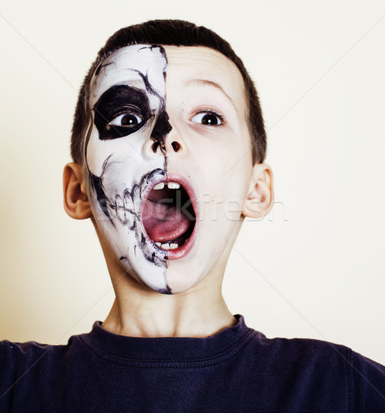 little cute boy with facepaint like skeleton to celebrate halloween, lifestyle people concept, child Stock photo © iordani