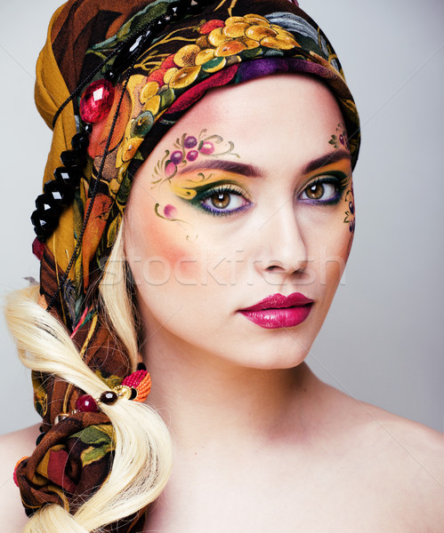 portrait of contemporary noblewoman with face art creative close Stock photo © iordani