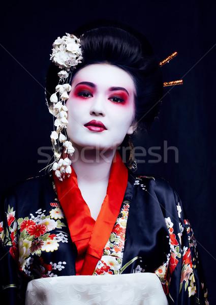 Giovani bella effettivo geisha kimono sakura Foto d'archivio © iordani