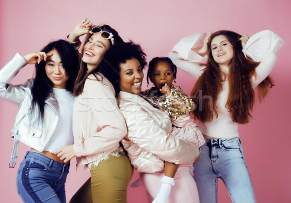 Drie verschillend natie meisjes huid haren Stockfoto © iordani