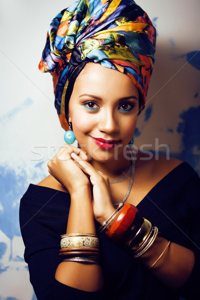 beauty bright african woman with creative make up, shawl on head Stock photo © iordani