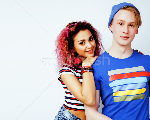 best friends teenage girl and boy together having fun, posing emotional on white background, couple  Stock photo © iordani