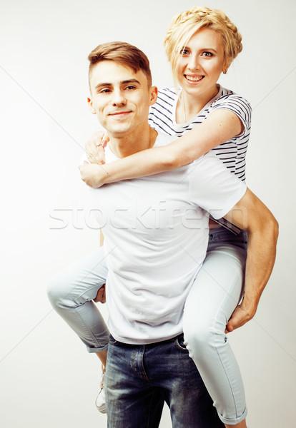 молодые довольно пару парень Сток-фото © iordani