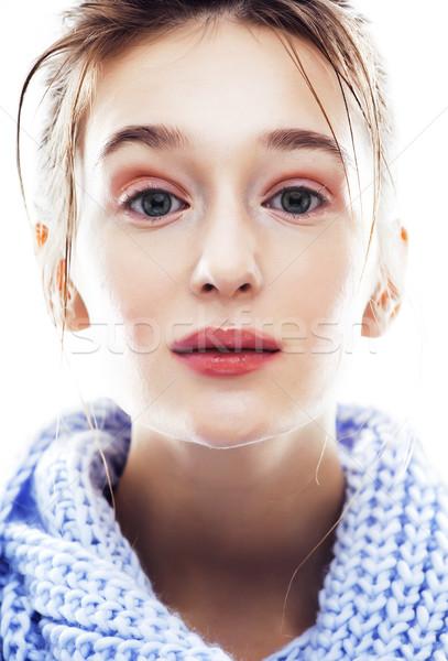 Piękna młodych blond kobieta szalik wyblakły Zdjęcia stock © iordani