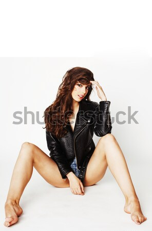 young pretty sexy woman in leather jacket, lifestyle hipster girl posing isolated on white backgroun Stock photo © iordani
