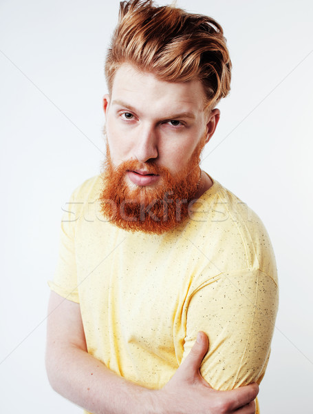 портрет молодые бородатый парень улыбаясь Сток-фото © iordani