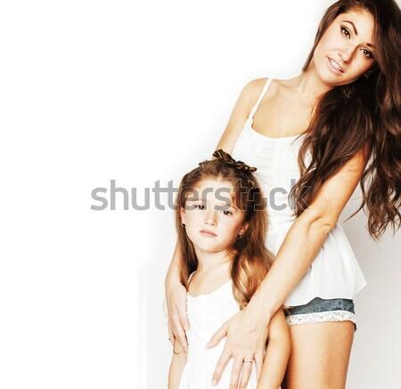 Photo stock: Deux · cute · adolescents · ensemble · isolé