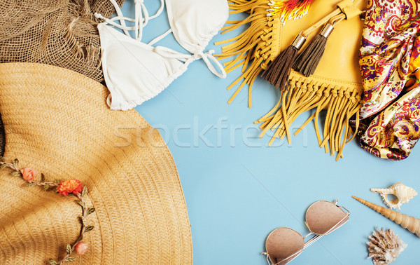 diverse travel girlish stuff on colorful background blue and yellow, nobody tourism lifestyle concep Stock photo © iordani