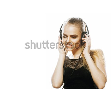 young sweet talented teenage girl in headphones singing isolated Stock photo © iordani