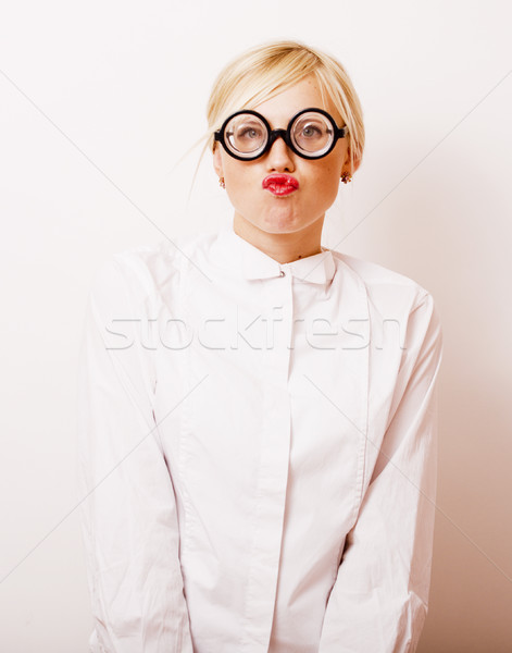 Smiley coed in glasses slowly uncovering her petite curves № 388875 бесплатно