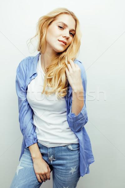 Młodych dość elegancki teen girl stwarzające Zdjęcia stock © iordani