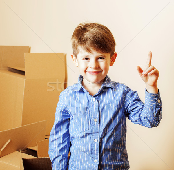 мало Cute мальчика пустой комнате домой Сток-фото © iordani