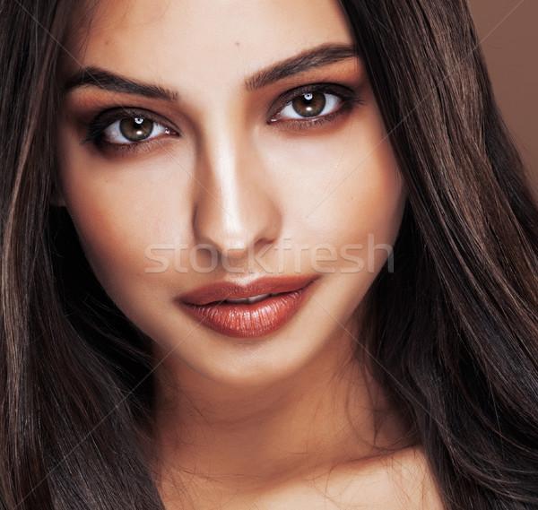 cute happy young indian woman in studio close up happy smiling, fashion mulatto adorable smile, life Stock photo © iordani