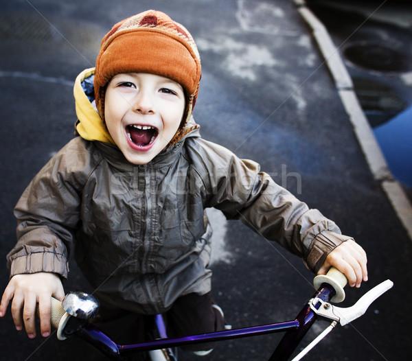 Küçük sevimli gerçek erkek bisiklet gülen Stok fotoğraf © iordani