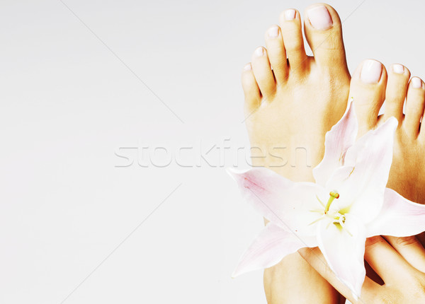 manicure pedicure with flower lily close up isolated on white pe Stock photo © iordani