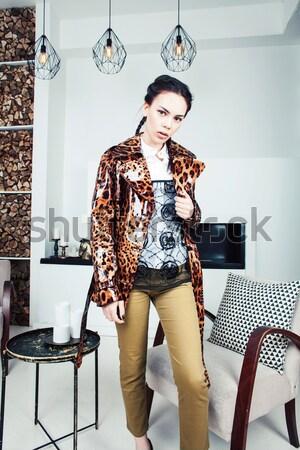 Güzel şık kadın moda elbise leopar Stok fotoğraf © iordani