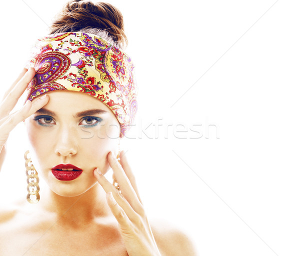 young pretty modern girl with bright shawl on head emotional pos Stock photo © iordani
