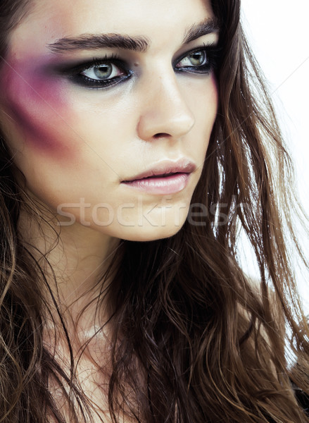 young beauty woman with makeup like shiner on face close up isolated Stock photo © iordani