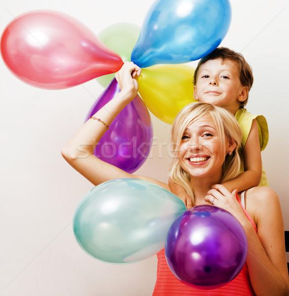 Güzel gerçek aile renk balonlar beyaz Stok fotoğraf © iordani
