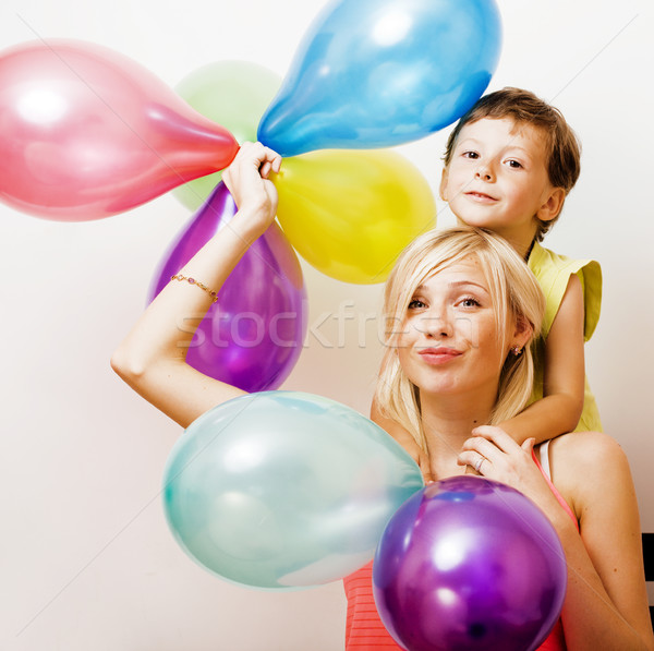 Сток-фото: довольно · реальный · семьи · цвета · шаров · белый