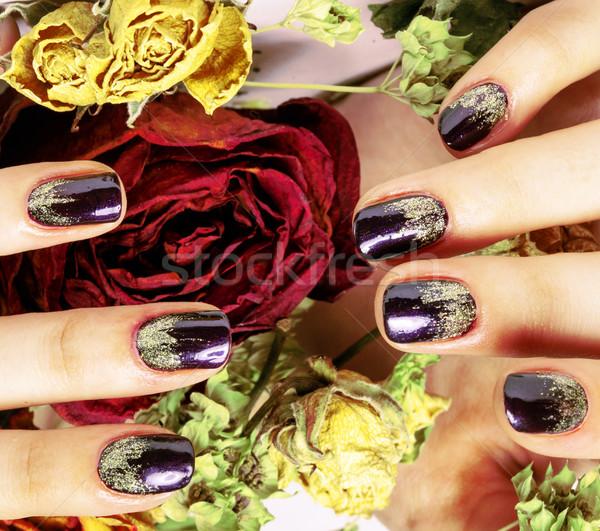 Photos manucure clous sécher fleur Photo stock © iordani