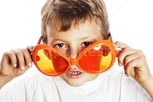 Piccolo cute ragazzo arancione occhiali da sole punta Foto d'archivio © iordani