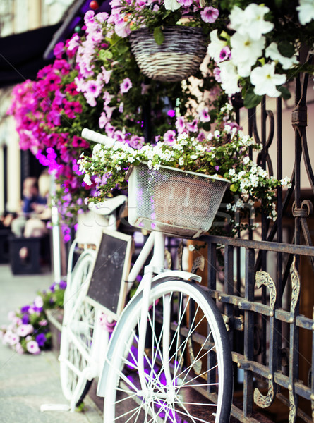 flower in basket of vintage bicycle on vintage wooden house wall Stock photo © iordani