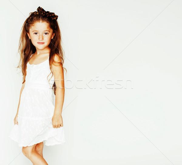 Kicsi aranyos tavasz lány liliom virág Stock fotó © iordani