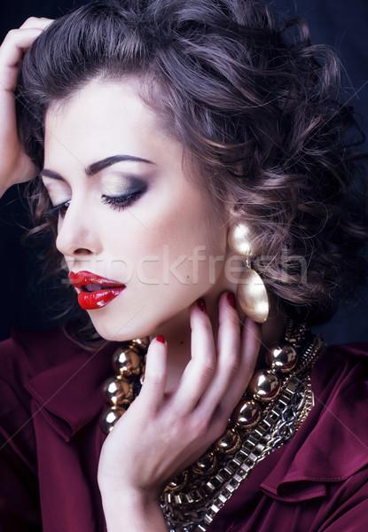 Szépség gazdag barna hajú nő ékszerek spanyol Stock fotó © iordani