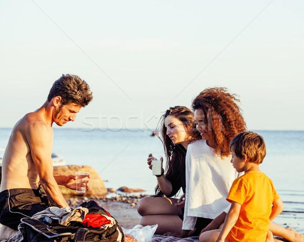 Joli nation âge amis mer Photo stock © iordani