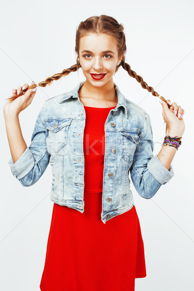 young pretty stylish hipster blond girl with pigtails posing emotional isolated on white background  Stock photo © iordani