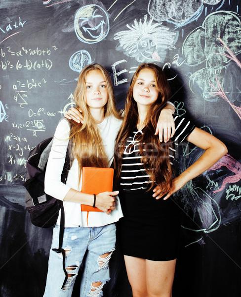 Stok fotoğraf: Okula · geri · yaz · iki · genç · gerçek