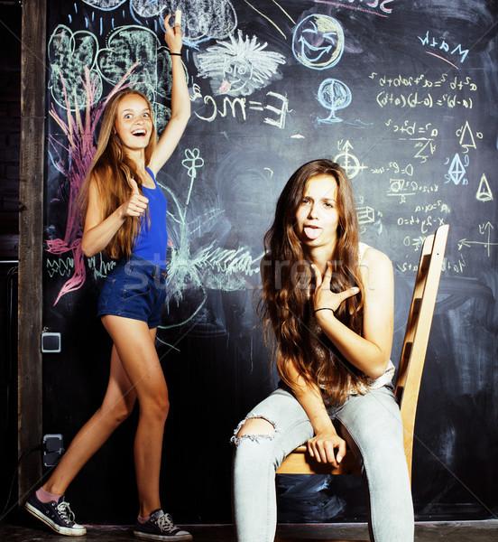 Terug naar school zomer twee teen meisjes Stockfoto © iordani