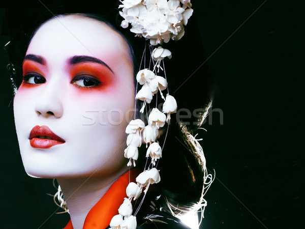 Gésa kimonó fekete fiatal gyönyörű ázsiai Stock fotó © iordani