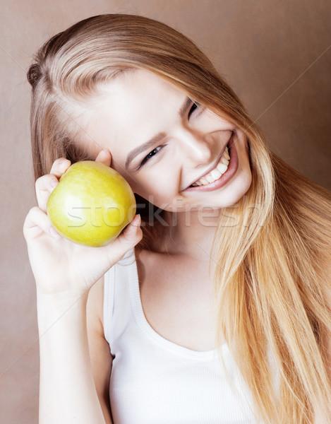 Jovem bastante loiro mulher verde maçã Foto stock © iordani