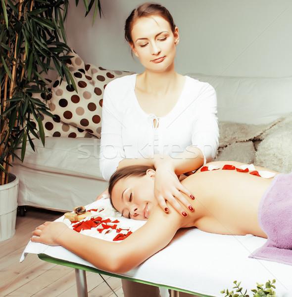 Czas Fotografia atrakcyjny pani leczenie uzdrowiskowe salon Zdjęcia stock © iordani
