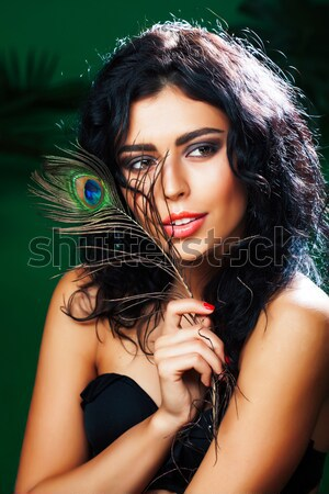 woman with creative make up like snake and rat in her hands, hal Stock photo © iordani