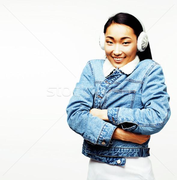 молодые довольно длинные волосы азиатских женщину счастливым Сток-фото © iordani