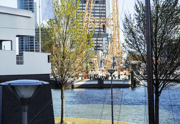 view to background of Rotterdam city harbour, future architecture concept, skyscraper lifestyle coce Stock photo © iordani