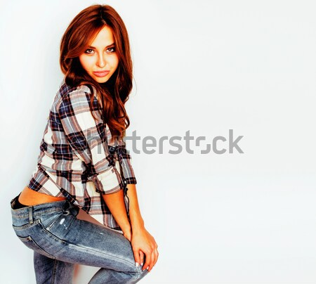 pretty sexy young woman with gorgeous hair in denim shorts and b Stock photo © iordani