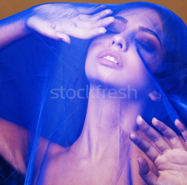 Güzellik genç kadın peçe mavi Stok fotoğraf © iordani