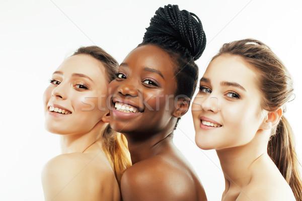 Trois différent nation femme ensemble Photo stock © iordani
