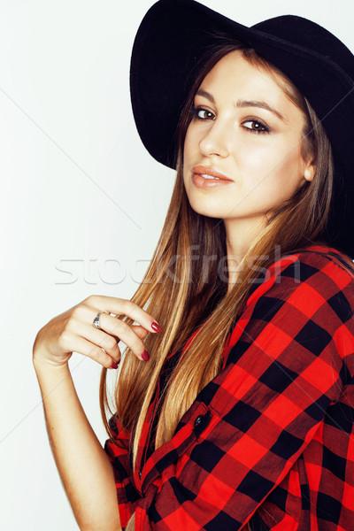 молодые довольно брюнетка девушки Hat Сток-фото © iordani