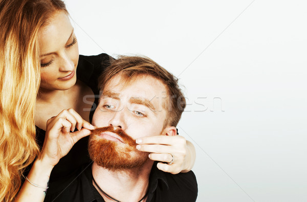 young tender couple, man and woman in love isolated on white, fooling around real modern hipster mar Stock photo © iordani