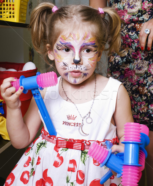 little girl with faceart on birthday party, lifestyle people concept Stock photo © iordani