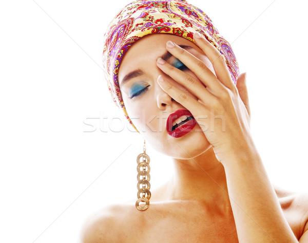 Jonge mooie moderne meisje heldere hoofd Stockfoto © iordani