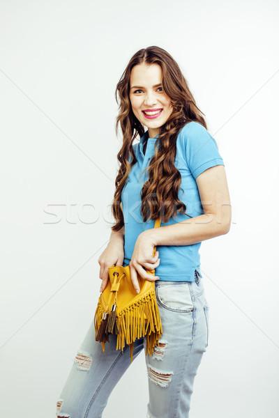 Młodych dość długie włosy kobieta szczęśliwy uśmiechnięty Zdjęcia stock © iordani